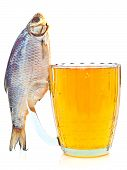 foto of beer mug  - salted fish on a beer mug isolated on a white background - JPG