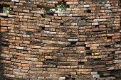 Sagging Old Brick Wall Background