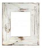 stock photo of shabby chic  - Distressed white painted picture frame - JPG