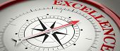 Excellence concept. Compass red arrow pointing at red letters word Excellence. 3d illustration poster