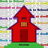 Little Red Schoolhouse - background text pattern
