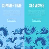 Sea Waves Flyers With Water Splash Elements. Summer Rest And Marine Leisure, Natural Nautical Design poster