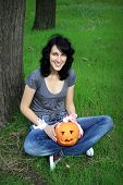 Happy Teen With Pumpkin