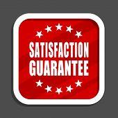 Satisfaction guarantee icon. Flat design square internet banner. poster