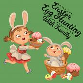 Little Girl Smile Running Hunting Decorative Chocolate Egg In Easter Bunny Costume Ears And Tail Vec poster