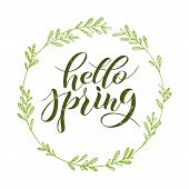 Hello Spring, Lettering Logotype, Typography Icon. Greeting Card, Template. Lettering Banner/poster/ poster