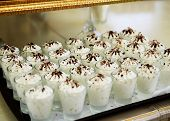 White Desserts In Cups. Fruit Dessert With Whipped Cream poster