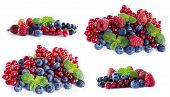 Set Of Fresh Fruits And Berries. Ripe Blueberries, Currants And Raspberries. Various Fresh Summer Be poster