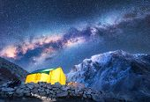Milky Way, Yellow Glowing Tent And Mountains. Space poster