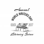 Vector Illustration Of World Writer Day With Books. Literary Soiree. Isolated On White Background. poster