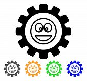 Settings Gear Smile Icon. Vector Illustration Style Is A Flat Iconic Settings Gear Smile Black Symbo poster