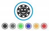 Glad Casino Chip Icon. Vector Illustration Style Is A Flat Iconic Glad Casino Chip Black Symbol With poster