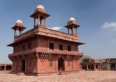 picture of khas  - Two story palace in red sandstone and white domes against blue skies - JPG