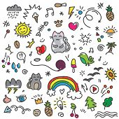 Hand Painted Colored Cat, Birds, Rainbow, Sun And Other Art Elements On Doodle Pattern. Colorful Doo poster