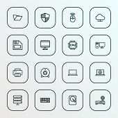 Hardware Icons Line Style Set With Diskette, Mouse, Print And Other Peripheral  Elements. Isolated V poster