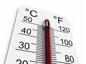 foto of heatwave  - Thermometer indicates extremely high temperature - JPG