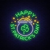 Happy St. Patricks Day Vector Illustration In Neon Style. Neon Sign, Greeting Card, Postcard, Neon  poster