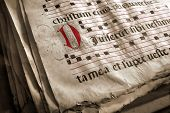 foto of annal  - Old religious choir book with latin script from medieval age - JPG