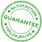 Grunge Green Guarantee Satisfcation Round Rubber Seal Stamp On White Background poster