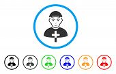 Christian Monk Rounded Icon. Style Is A Flat Christian Monk Gray Symbol Inside Light Blue Circle Wit poster