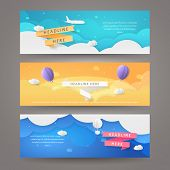 Set Of Vector Banners In Paper Cut Style With Airplane, Aerostat, Balloons And Ribbons. Template Wit poster