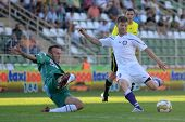 KAPOSVAR, HUNGARY - AUGUST 14: Zoltan Boor (in white) in action at a Hungarian National Championship