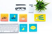 Digital Marketing. Work Desk Of Marketing Specialist With Social Media Icons And Symbols On White Ba poster