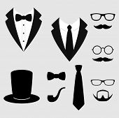 Mens Jackets. Tuxedo With Mustaches, Glasses, Beard, Pipe And Top Hat. Weddind Suits With Bow Tie A poster