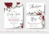 Wedding Floral Invite, Save The Date, Thank You, Rsvp Card Design With Red And White Garden Rose Flo poster