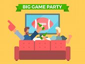 Friends Watching A Football Game On Tv Eating And Cheering. Vector Illustration Of Celebrating A Sup poster