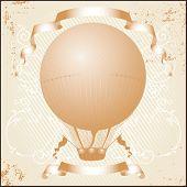 Retro hot air balloon. Grunge version. Vector illustration.