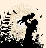 Happy family - women and her child. Illustration.