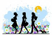 Summer, shopping girls, vector illustration