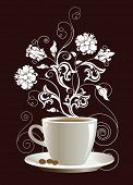 Cup of coffee with floral design elements, raster version of vector illustration