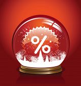 Vector snow globe with in red color, vector illustration