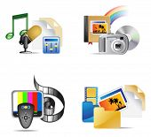 Set of multimedia internet icon, vector illustration