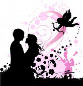 Valentine's background with cupid and couple in love. Urban City Party, vector images scale to any s