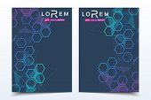 Scientific Brochure Design Template. Vector Flyer Layout, Molecular Structure With Connected Lines A poster