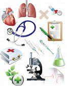 Conjunto de objetos de medicina. Todos os elementos e texturas são objetos individuais. Escala de ilustração vetorial