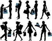 Shopping people. All elements and textures are individual objects. Vector illustration scale to any