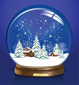 Vector snow globe with a town. All elements and textures are individual objects. Vector illustration scale to any size.