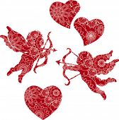 Floral Cupids and Hearts. All elements and textures are individual objects. Vector illustration scale to any size.