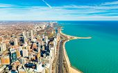 Chicago Downtown And Lake Michigan Shore Line, Usa poster