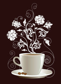 picture of floral design  - Cup of coffee with floral design elements - JPG