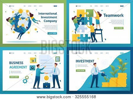poster of Set Flat 2d Concepts Teamwork, Investment Company, Investment And Growth, Business Agreement.. For L