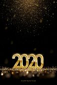 2020 New Year Luxury Design Concept. Vector Golden 2020 New Year Vertical Template With Falling Gold poster