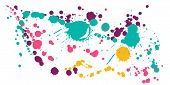 Paint Stains Grunge Background Vector. Abstract Ink Splatter, Spray Blots, Dirt Spot Elements, Wall  poster