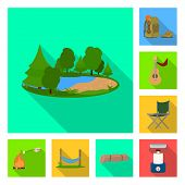 Vector Illustration Of Tourism And Excursions Symbol. Set Of Tourism And Rest Stock Symbol For Web. poster