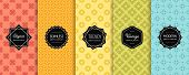 Geometric Seamless Patterns Collection. Vector Set Of Minimal Floral Background Swatches With Elegan poster