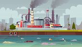 Background With Environmental Pollution. Factory Plant Smokes With Smog, Trash Emission From Pipes T poster